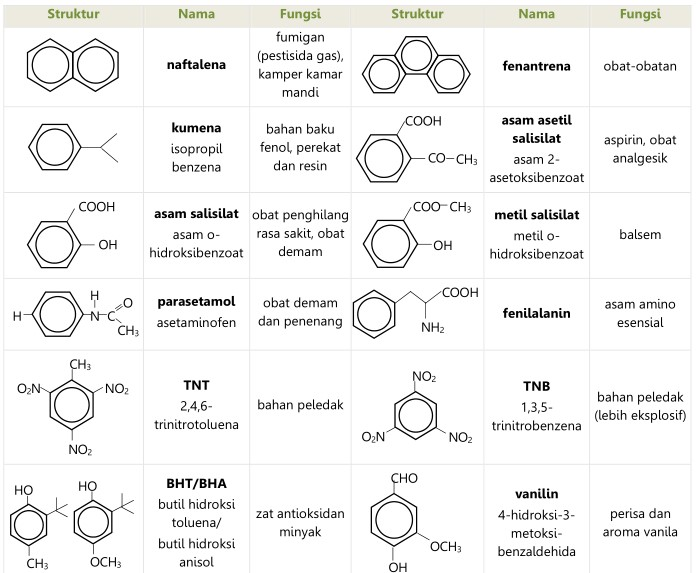 Contoh senyawa yang mengandung cincin benzena