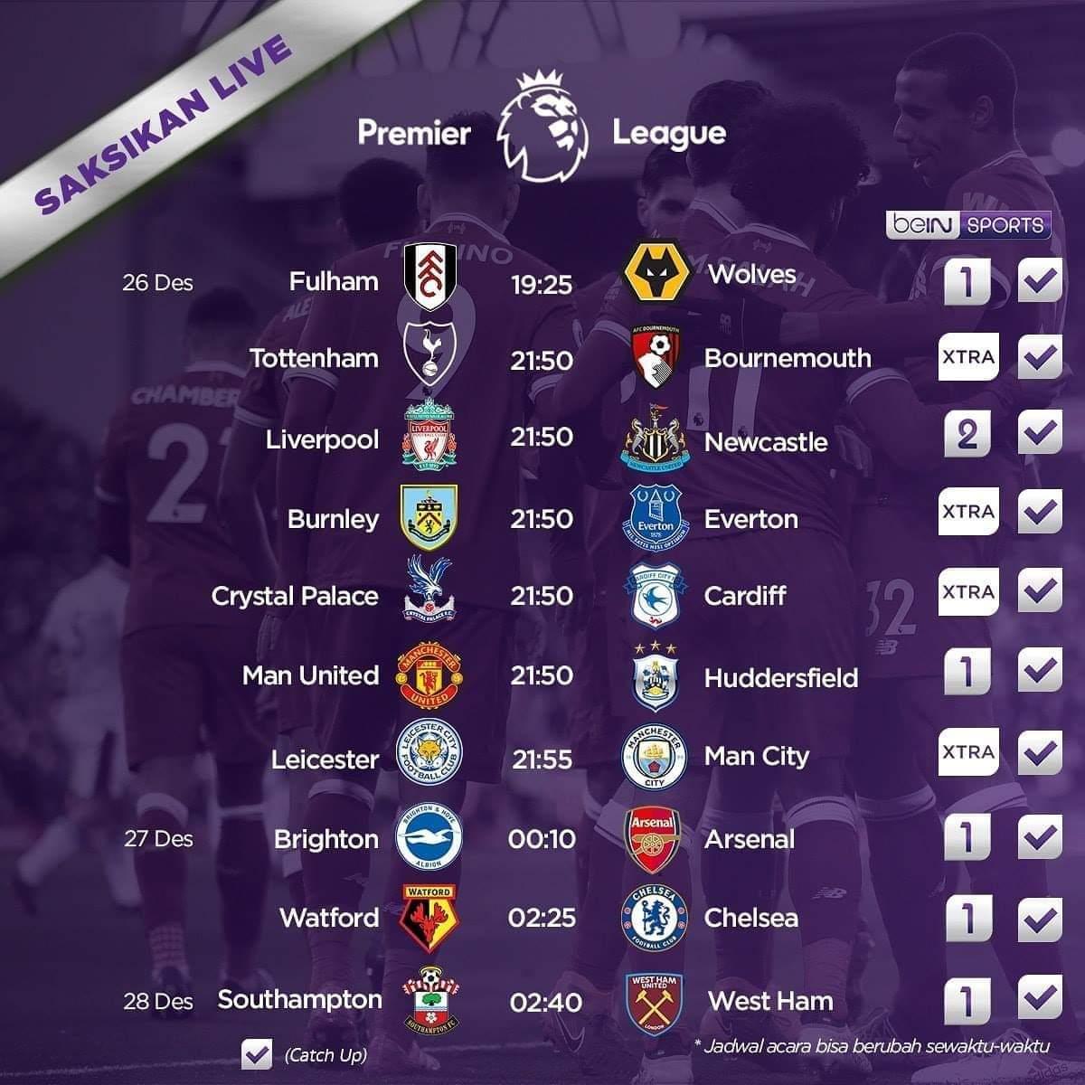 Photo of Jadwal Liga Inggris 26 27 28 Desember 2018 Boxing Day