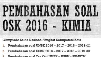 Photo of Pembahasan Soal OSN Kimia 2016 Tingkat Kabupaten (OSK) PDF