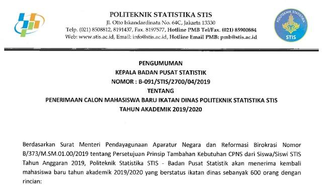 Info terbaru pendaftaran STIS 2019 2020