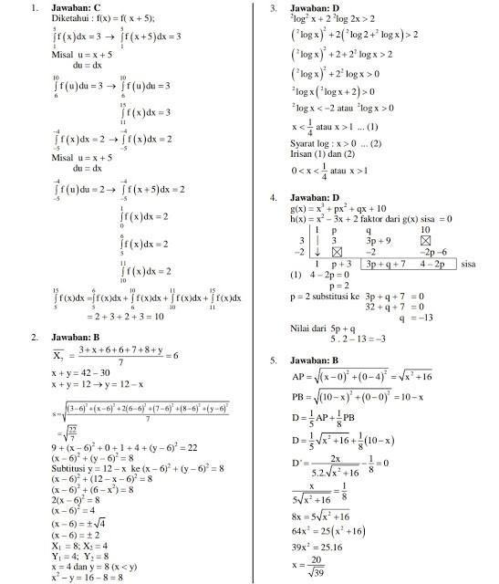Pembahasan Soal UTBK Matematika Saintek 2019
