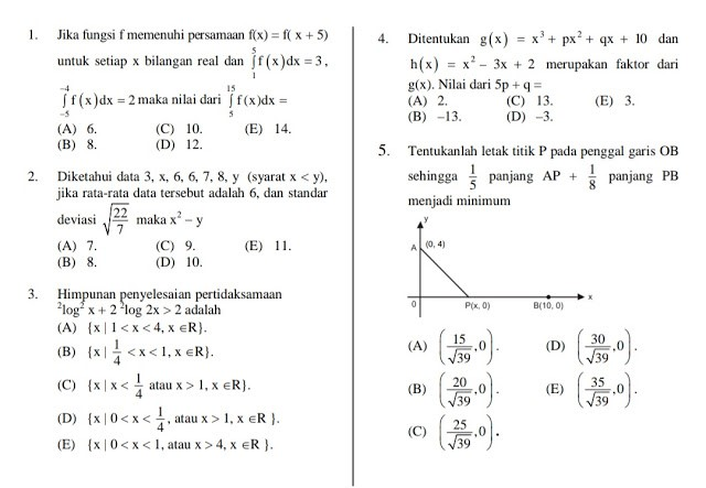 Soal UTBK Matematika Saintek 2019