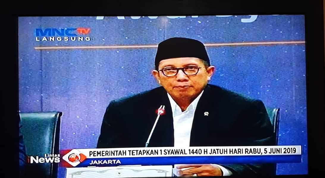 Menteri Agama Menetapkan 1 Syawal Hari Rabu 5 Juni 2019
