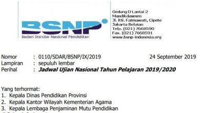 Surat Edaran Jadwal UN 2020
