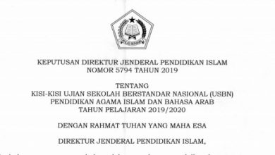 Photo of Download Kisi-kisi USBN PAI dan Bahasa Arab MI MTs MA 2020 Tahun Pelajaran 2019/2020