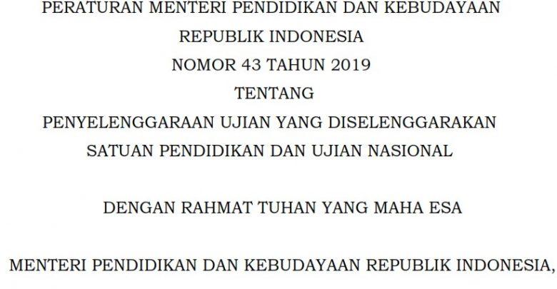 Permendikbud nomer 43 tahun 2019