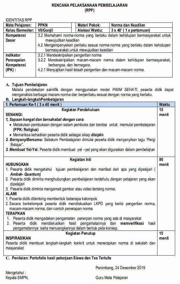 RPP 1 halaman PPKn SMP