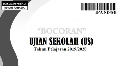 Bocoran Soal IPA US SD 2020