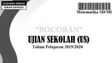 Bocoran Soal US SD 2020