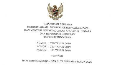 Download SKB Libur Nasional dan Cuti Bersama Tahun 2020