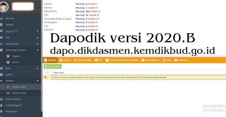 Download Patch Aplikasi Dapodik versi 2020.B dapo.dikdasmen.kemdikbud.go.id