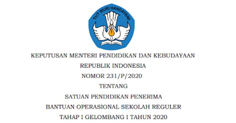 Keputusan Mendikbud Tentang Satuan Pendidikan Penerima Bos Reguler Tahap I Gelombang I Tahun 2020