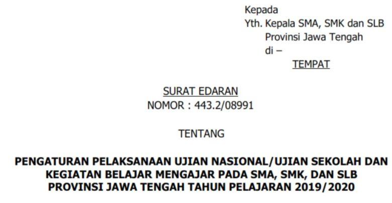 Edaran Penundaan UNBK US SMA SMK SLB dan KBM Online Jawa Tengah