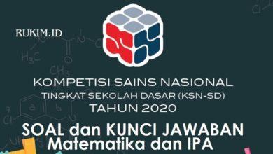 Soal dan Kunci Jawaban KSN-K SD 2020 PDF Matematika IPA