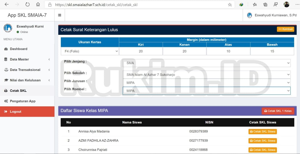 Aplikasi Pengumuman Kelulusan Online Gratis Print SKL