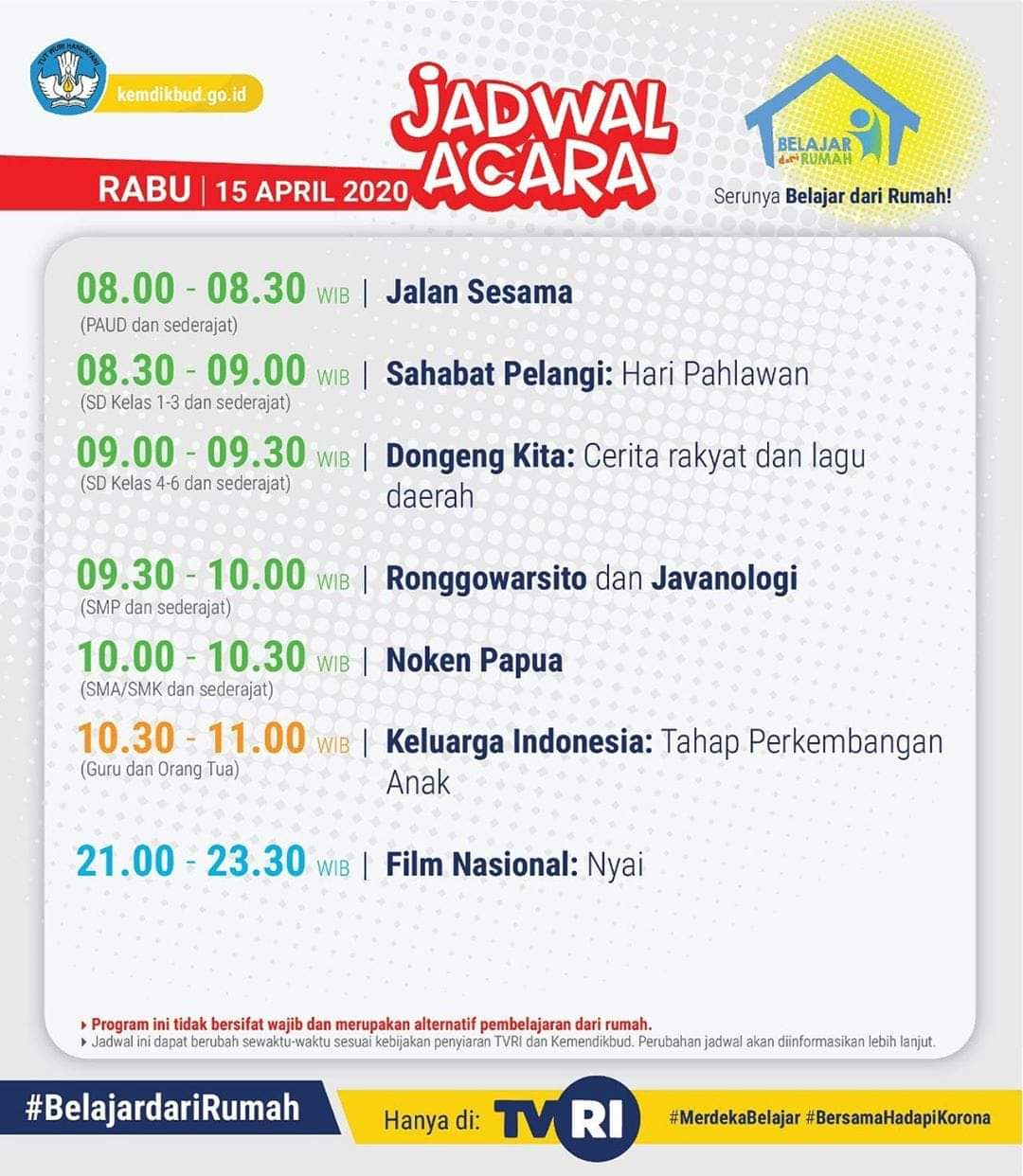 Jadwal Belajar TVRI Rabu 15 April 2020