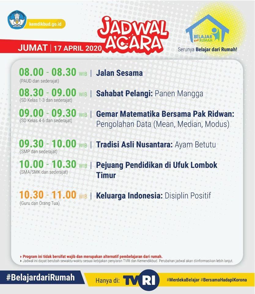 Jadwal Belajar dari Rumah di TVRI Jumat 17 April 2020