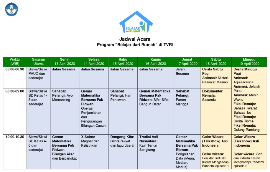 Jadwal Belajar dari Rumah di TVRI