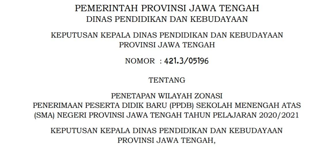 Data Wilayah Zonasi Pembagian Zona PPDB SMA Jateng