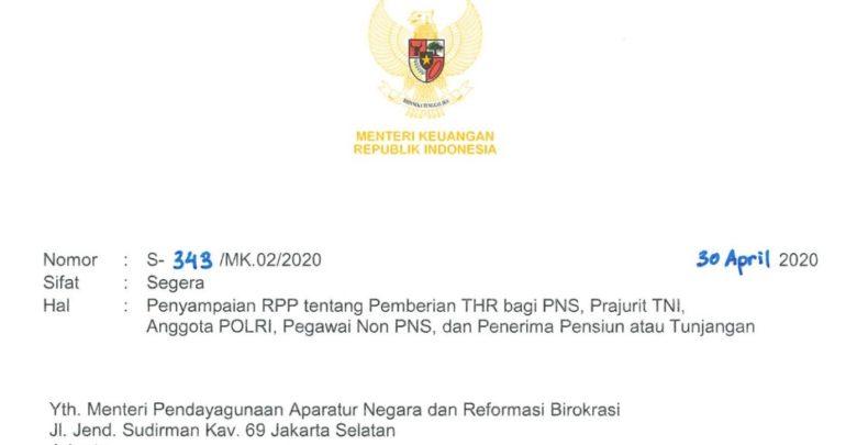 Ketentuan pemberian THR pada PNS, TNI, Polri, Non PNS, dan Penerima Pensiun atau Tunjangan tahun 2020