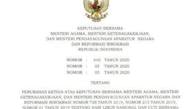 Photo of Perubahan Hari Libur Nasional dan Cuti Bersama Tahun 2020 Sesuai SKB Tiga Menteri