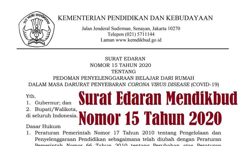 Surat Edaran Mendikbud Nomor 15 Tahun 2020 PDF