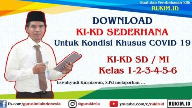 Download KI KD Sederhana SD MI kelas 1 2 3 4 5 6
