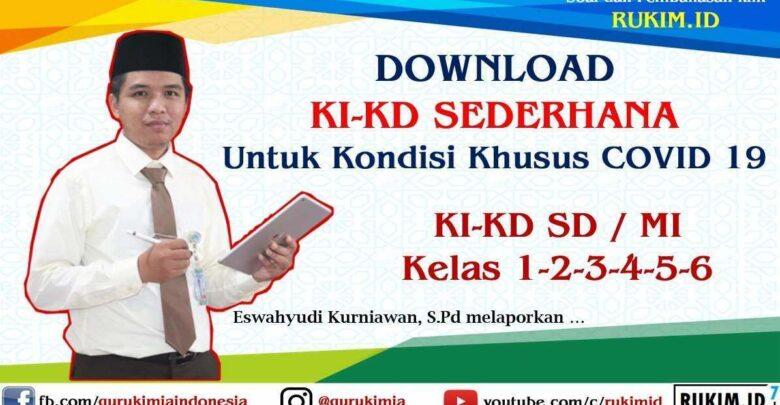 Download KI KD Sederhana SD MI kelas 1 2 3 4 5 6